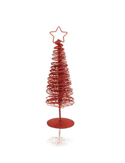 decoracao arvore de natal vermelha e dourada:Conjunto de 2 Árvores Natal Dourada e Vermelhas