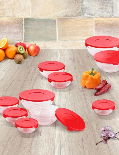 Conjunto 10 Caixas de Conservação com tampa de vidro vermelho