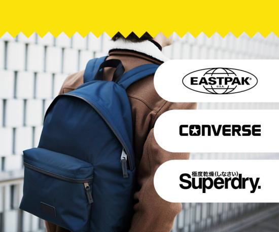 Eastpak, Converse, Superdry e muito mais