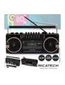 Rádio Portátil AM/FM Ricatech com 2 colunas 8W X-BASS