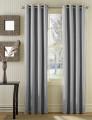 Conjunto 2 Cortinados Bicolor Argolas Inox cinza claro